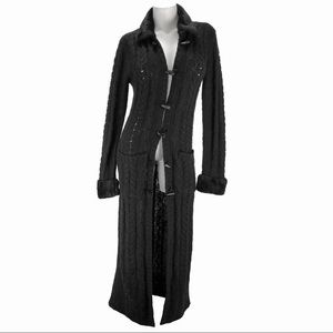 LULY K Black Duster with Faux Fur Collar/Cuffs. L.